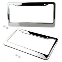 2Pcs Chrome Stainless Steel Silvery License Plate Frame Tag Cover+Screw Cap