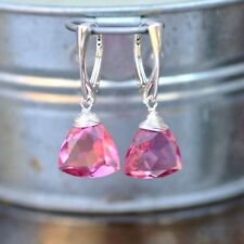 Wire Wrapped Trillion Pink Tourmaline Earrings Sterling Silver 925 , Lever Backs