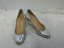 CHRISTIAN  LOUBOUTIN SILVER LEATHER WEDGES SZ 37 US 6.5