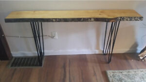 Live Edge Bark Pine Console Table with Steel Hairpin Legs