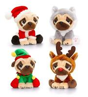 KEEL TOYS PUGSLEY THE PLUSH DOG CHRISTMAS  OUTFIT 20CM BNWT