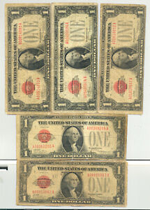 Group lot of Five red seal $1 Series 1928 funny back United States Notes