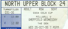 Ticket - Milwall v Sheffield Wednesday 25.10.95 League Cup