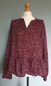 Gap Ladies Long Sleeved Peplum Burgundy Floral Blouse Size Large - New