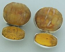 REBECCA COLLINS AMBER STONES Sterling Silver Clip-on Earrings Signed