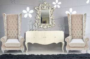 Baroque High Back Chair - Beige Chair