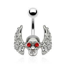 Bauchnabelpiercing Banane Totenkopf Skull Flügel Kristalle Rot Gothic