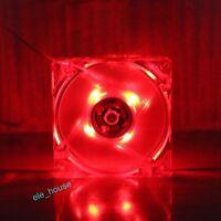 80mm Red LED PC Computer Case 12V 4Pin 80x25mm DC Brushless Heatsink Cooling Fan