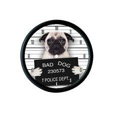"""CERBIATTO Pug Dog """"BAD DOG"""" FOTO Orologio da parete-Animale Pet Amante REGALO"""