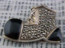 schöne alte Brosche Silber 925/-  Markasiten Onyx Schuh Stiefel