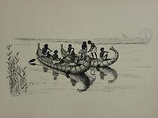 1936 SAILING SHIP PRINT ~ REED FISHING-BOATS IN ANCIENT EGYPT