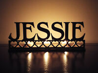 Tea Light Holder Personalised Candle Holder with One Name and Hearts Keepsake