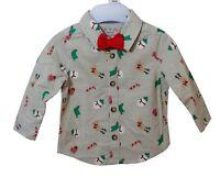 NEW! F&F Baby Boys Grey Festive Xmas Print Long Sleeve Shirt Bow Tie Age 0-3-6-9