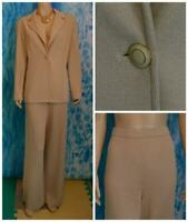 St. John Collection Knits Beige Jacket Pants L 12 10 2pc Suit Button Collared