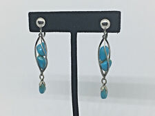 Earrings - 6.6g. #546 Turquoise~Sterling Silver~turquoise stone dangle