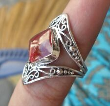 925 Sterling Silver-WY60-Bali Hand Made Ring Red Coral Size 9