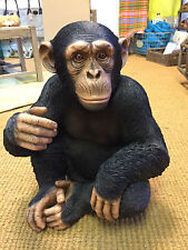 Sitting Chimpanzee sculpture Chimp statue Life like Chimpanzee for home garden