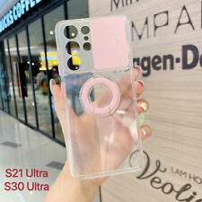 For Samsung Galaxy S21 Plus Ultra Slide Camera Cover Protection Clear Ring Case
