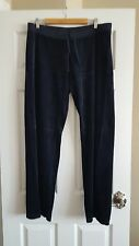 Women's Juicy Couture Velour Track Pants in Navy Blue Size XL