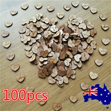 AU 100pcs Rustic Wooden Love Heart Wedding Table Scatter Decoration Crafts Hot!!
