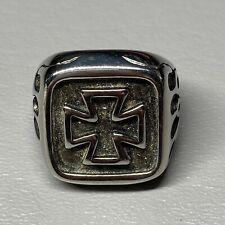 Stainless Steel Cross Signet Ring Size 10 Silver Flames Biker Chopper Punk Goth