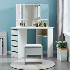 UK Corner Dressing Table Stool Vanity Set White Makeup Dresser Mirror 5 Drawers