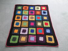 Pure Wool Crochet GRANNY SQUARE RUG Throw AFGHAN 2 colour No.23