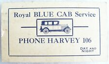 Vintage 1930's Royal Blue Cab Service Calling Business Card - Taxi