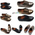 s01xe08 Flat Womens Shoes Classic Lace Up Dress Oxford Low Heel MultiColor New