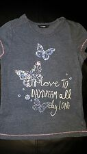 GEORGE UK girls size 8 - 9 BLUE BUTTERFLY T-SHIRT I LOVE TO DREAM MOTIF