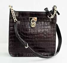 Michael Kors Bag Hamilton Md Embossed Leather Messenger Damson New