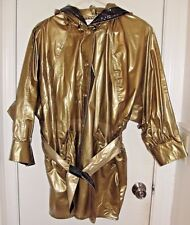 Kenn Sporn / Wippette Vintage Shiny Gold 100% Vinyl Hooded Raincoat Jacket Sz M