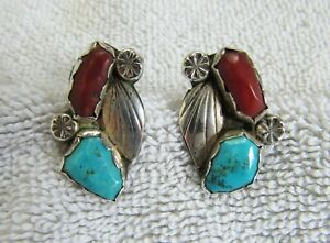 Vintage Sterling Silver & Battle Mountain Turquoise Coral Navajo Indian Earrings