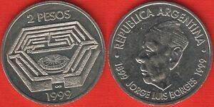 "Argentina 2 pesos 1999 km#128 ""Jorge Luis Borges"" UNC"