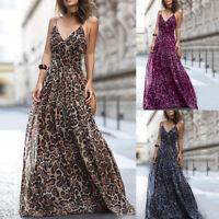 Women Sexy Spaghetti Strap V Neck Leopard Print Party Maxi Long Dress Rapture