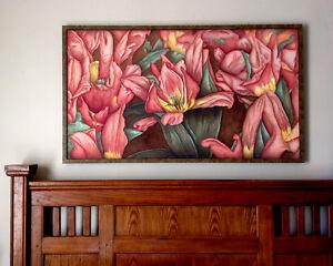 """Tulip Rhapsody"" Framed Giclée Canvas, Thomas Art Studios, 24x46 Limited Edition"
