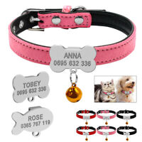 Personalised Dog Collar Suede Leather Custom Pet Puppy Cat ID Tag Engraved