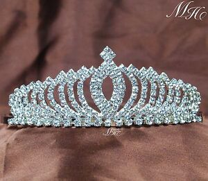 Small Crystal Round Crown Tiara Wedding Bridal Party Pageant Prom Head Jewelry