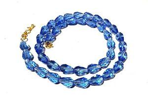 "24""inch Necklace Tanzanite Blue Quartz Teardrop 8x12mm Hydro Beads Gold Plated"