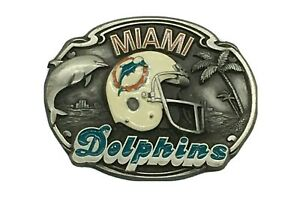 Vintage Miami Dolphins Belt Buckle 1987 NFL Ltd Edition #793 Siskiyou Pewter