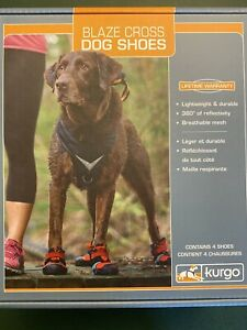 Kurgo Blaze Cross Dog Shoes Paw Protectors Reflective No Slip Size Large