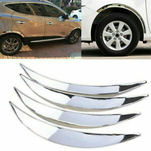 4PCS  Chrome Car Wheel Eyebrow Protector Strips Trim Lip Fender Flare Strickers