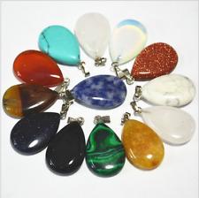 12pcs Wholesale Fashion Mixed Natural Stone Water Drop Pendants Charms Teardrop