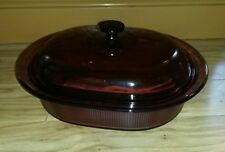 LARGE Visions Cookware: Corning  4L Oval Casserole Dish Pot/Pan/Lid Cranberry