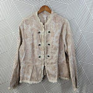 Venezia Blazer Plus size 26/28 Tapestry Jacket Floral Lace Art ruffle jacquard