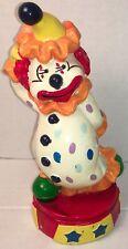 Colorful 8� Plastic Circus Clown Coin Piggy Bank Fun Happy Bright Cheerful Toy !