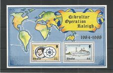 GIBRALTAR 1988 OPERATION RALEIGH MINISHEET SG,MS603 U/MM N/H LOT 5518A