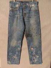 D9495 Levi's 501 Destructed Art Piece Wear w/Leggings Jeans Men's 33x32