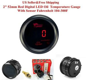 "2"" 52mm Red Digital LED Oil Temperature Gauge With Sensor Fahrenheit 104-302F"
