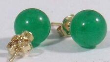 Fashion 10mm Green Jade Beads 18KGP Stud Earrings PE74